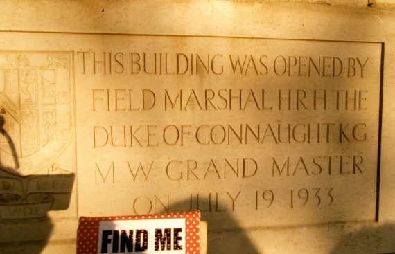 The plaque on the huge Masonic Temple in London.